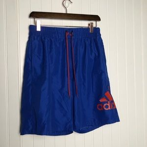 Adidas men's logo navy blue swim trunks